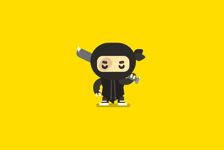 Ghetto ninja character.Flat illustration.