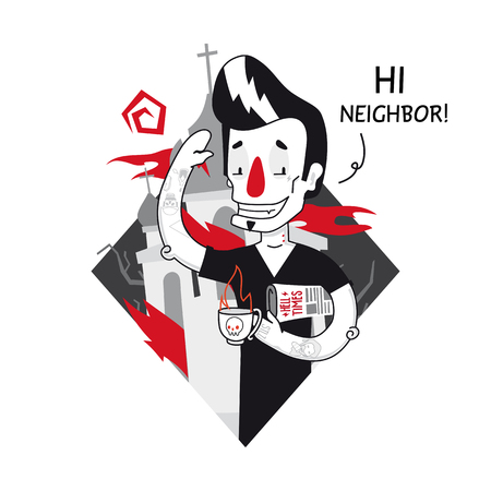 neighbor: Hi, Neighbor! Informal man with tattoos, paper and a cup of tea in black t-shirt. Flat and vector. Greeting funny illustration in unique author style. Illustration
