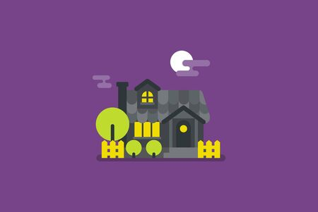 Flat design. Mistery night house. Countryside style. Vector colorful flat illustration.