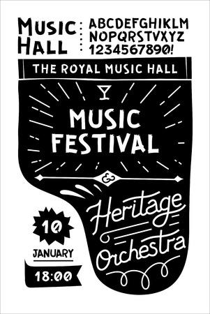 Modèle noir et blanc pour affiches de musique vintage vintage en noir et blanc. Piano de concert avec votre texte sur le dessus. Banque d'images - 58423943