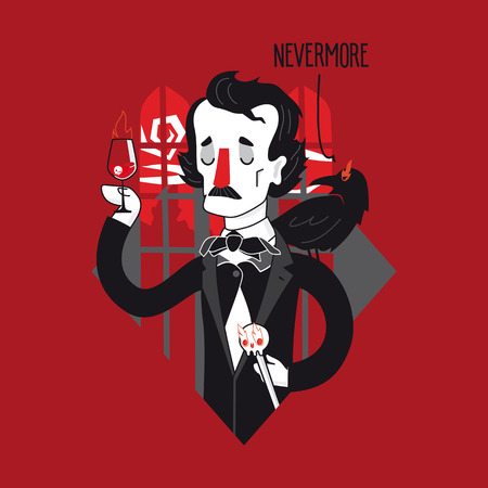 Edgar Allan Poe with wine and Raven. Creative vector illustration in unique author style.