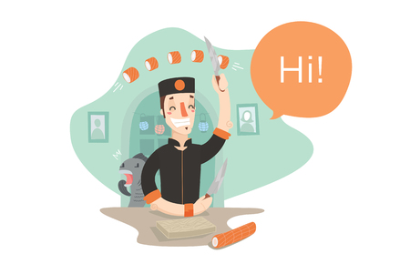 Young smiling sushi-chief making sushi. Funny creaming fish. Creative colorful flat vector cartoon character illustration.