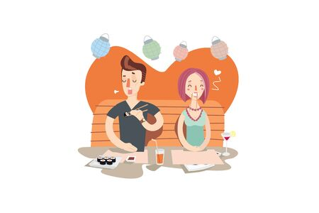 couple date: Couple at sushi bar. Young man and girl on the date. Creative colorful flat vector cartoon character illustration.