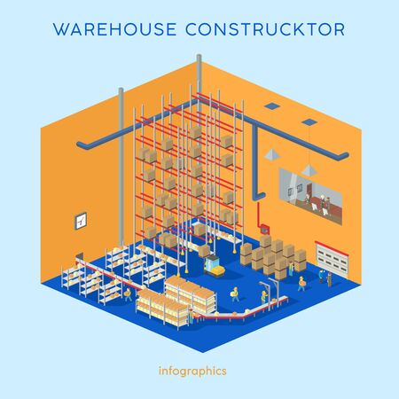 shelving: Warehouse kit. Build your own infographics illustration. Flat 3d isometric creative modern warehouse with forklift and workers.