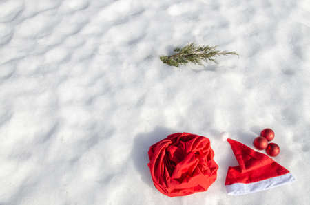 Traditional Christmas symbols on the snow. Stok Fotoğraf