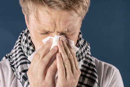 Adult man patient with cold and flu illness relief Stock Photo