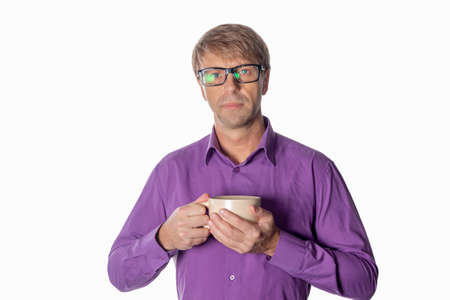 Handsome middle age man with cup of coffee isolated 写真素材 - 113585284