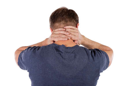 Man holding his neck trying to relieve pain Imagens