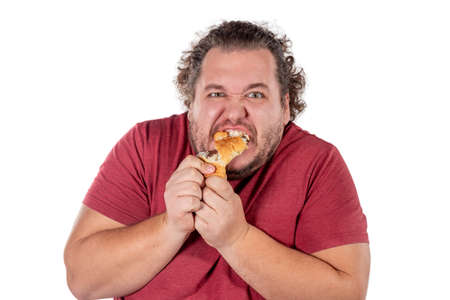 Funny fat man eating croissant Standard-Bild - 113597593