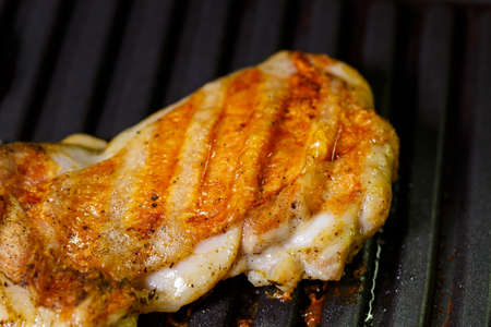 grilled chicken with spices on the electric grill in the home kitchen