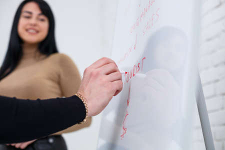 Male announcer manager businessman writes business promotion plan on white board. Standing in a black sweater with a marker. A girl learns new business rules with a girl student