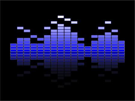 Blue volume equalizer with reflection on black background photo