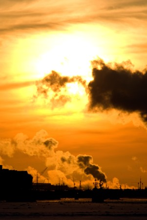 urban view of city describing difficult air pollution situation Stock Photo - 6892505
