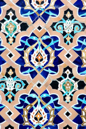 close up pattern of eastern, arabic ceramic, porcelain mosaic