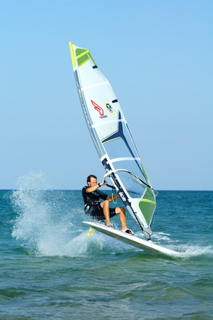 windsurfing freestyle at flat water