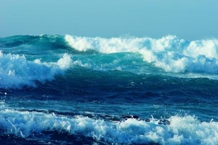 rough sea: series of large powerful ocean waves