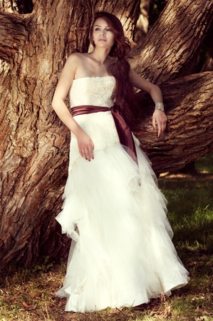 young beautiful bride posing at nature near big tree and not looking in camera photo