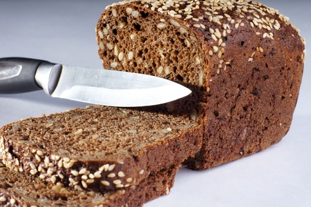 piece of bread, two slices and knife                  photo