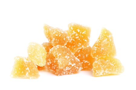 crystallized: sweet sugar ginder slices isolated on white