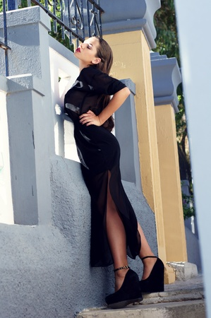 full lenght fashion portrait of young sensual woman in black blouse and skirt photo