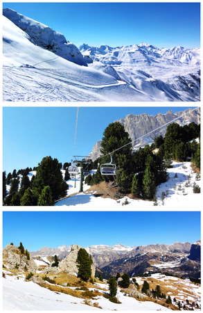 Collage of winter mountain landscapes. Snow-capped mountains, woods, rocks and blue sky. Set of scenic views photo