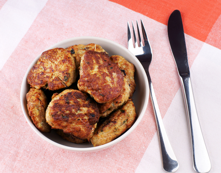 cutlets: plate of fried chicken cutlets on table