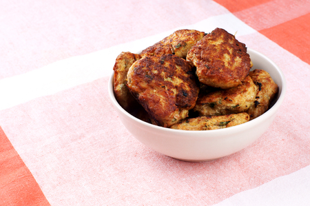 cutlets: plate of roasted chicken cutlets on table