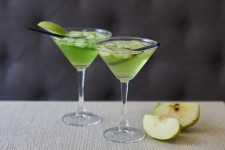 Two glasses of apple martini Stock Photo