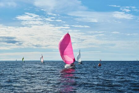 spinnaker: Yachting race. Sailing regatta. Yachts with pink spinnaker in the sea on sunny windy day Stock Photo