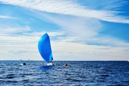SAINT-PETERSBURG, RUSSIA - SEPTEMBER 3: Yacht race or sailing regatta on September 3, 2016 in Saint-Petersburg, Russia