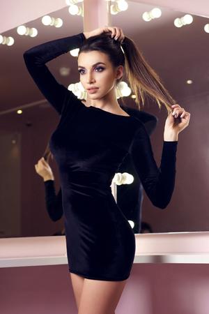 Sexy girls in black dress