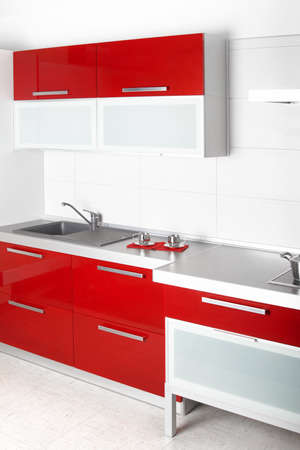 Modern red professional kitchen, and eqipment photo