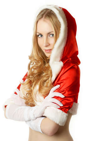 Portrait of beautiful sexy girl wearing like santa claus isolated on white background photo