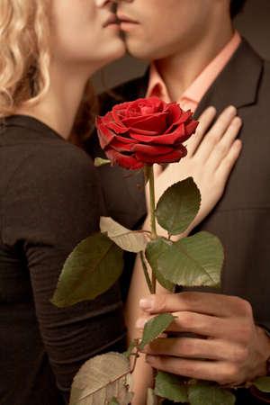 beatiful: Beatiful nice couple in love with rose