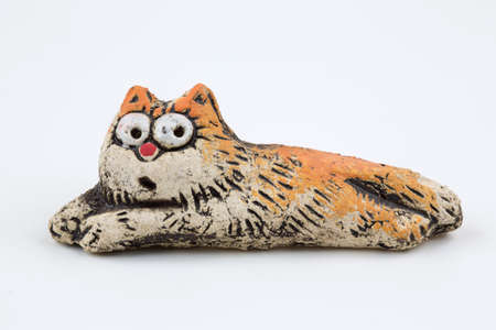 cat toy: Orange ceramic cat. Toy handmade.