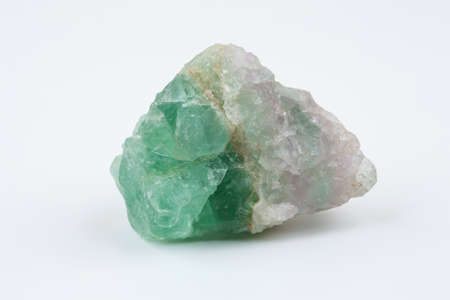 fluorite: Green fluorite. Mineral natural stone on a white background. Stock Photo