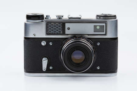 are fed: Retro film camera on a white background. Fed.