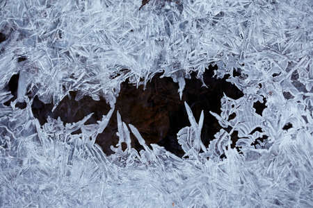 ice water: Water ice crystals and black water Stock Photo