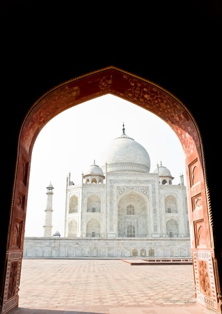 grandeur: Taj Mahal, India, Agra. Image with copy-space Stock Photo