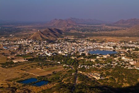 Pushkar Holy City, Rajasthan India  Aerial view  photo