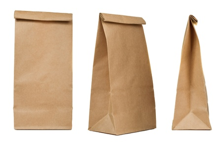 Brown paper bag set isolated on white background photo