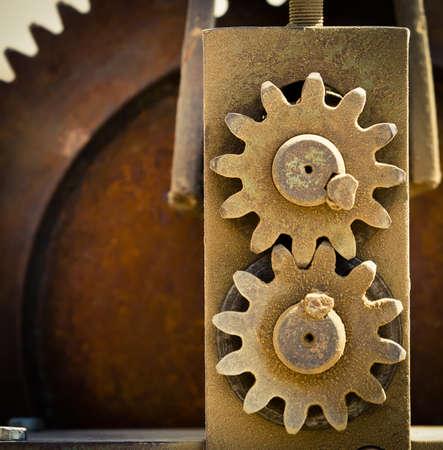 meshing: Close-up old cog wheels meshing together   Stock Photo
