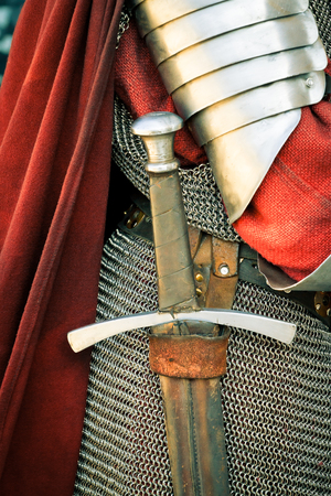 armor: Medieval knight  Close-up of sword and armor