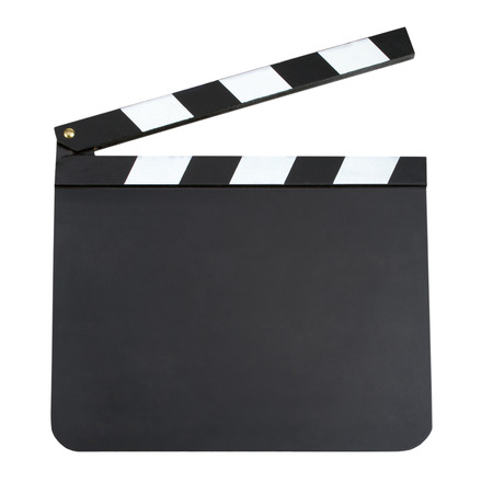 filmmaking: Blank movie production clapper board with copy space isolated on white background. Blank slate board isolated on white background
