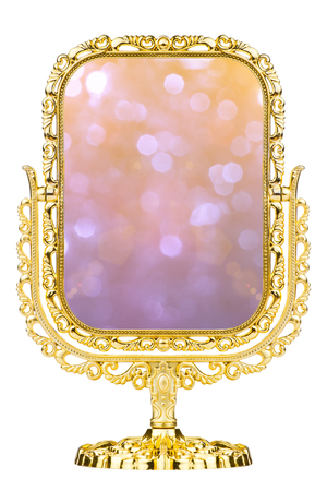 Magic mirror. Vintage gold frame and mirror. photo