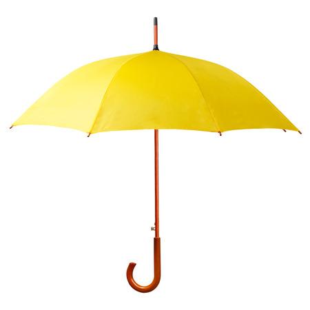 lluvia paraguas: Paraguas amarillo aislado en el fondo blanco