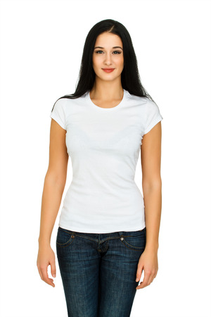 Attractive young woman with a blank white t-shirt isolated on a white background