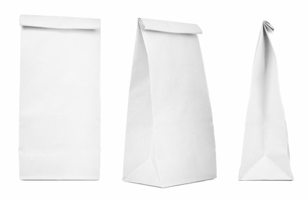 Blank paper bag set isolated on white background. Paper bags with copy space  版權商用圖片