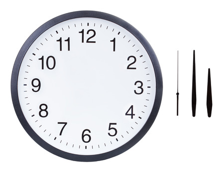 just in time: Blank clock face with hour, minute and second hands isolated on white background. Just set your own time Stock Photo