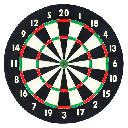 dartboard: Darts board isolated on white background. Classic dartboard with twenty black and white sectors